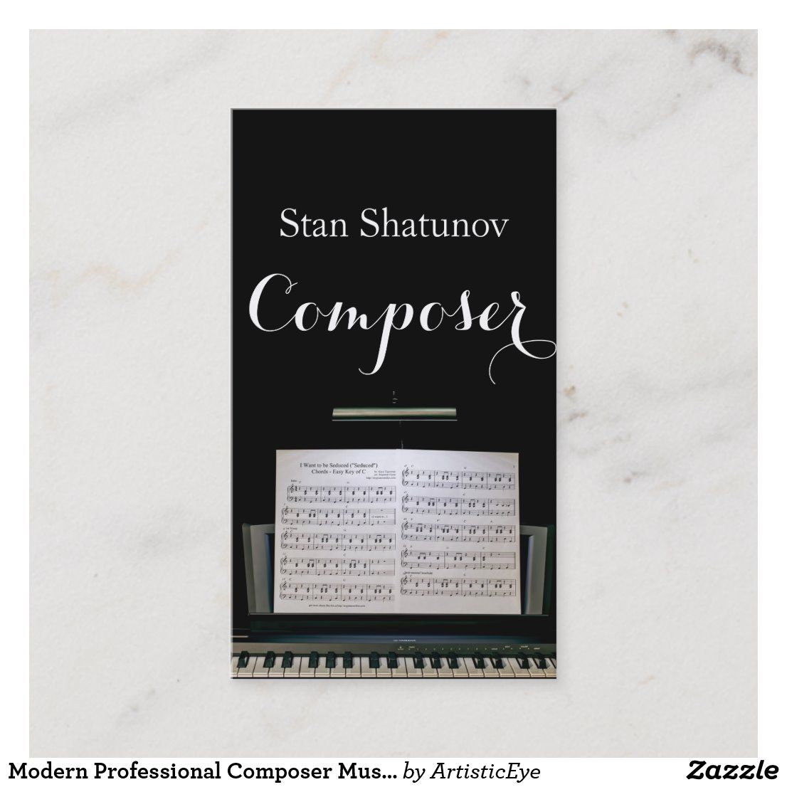 Modern Professional Composer Music Notes Musician Business Card Zazzle Com In 2020 Musician Business Card Music Notes Business Card Modern