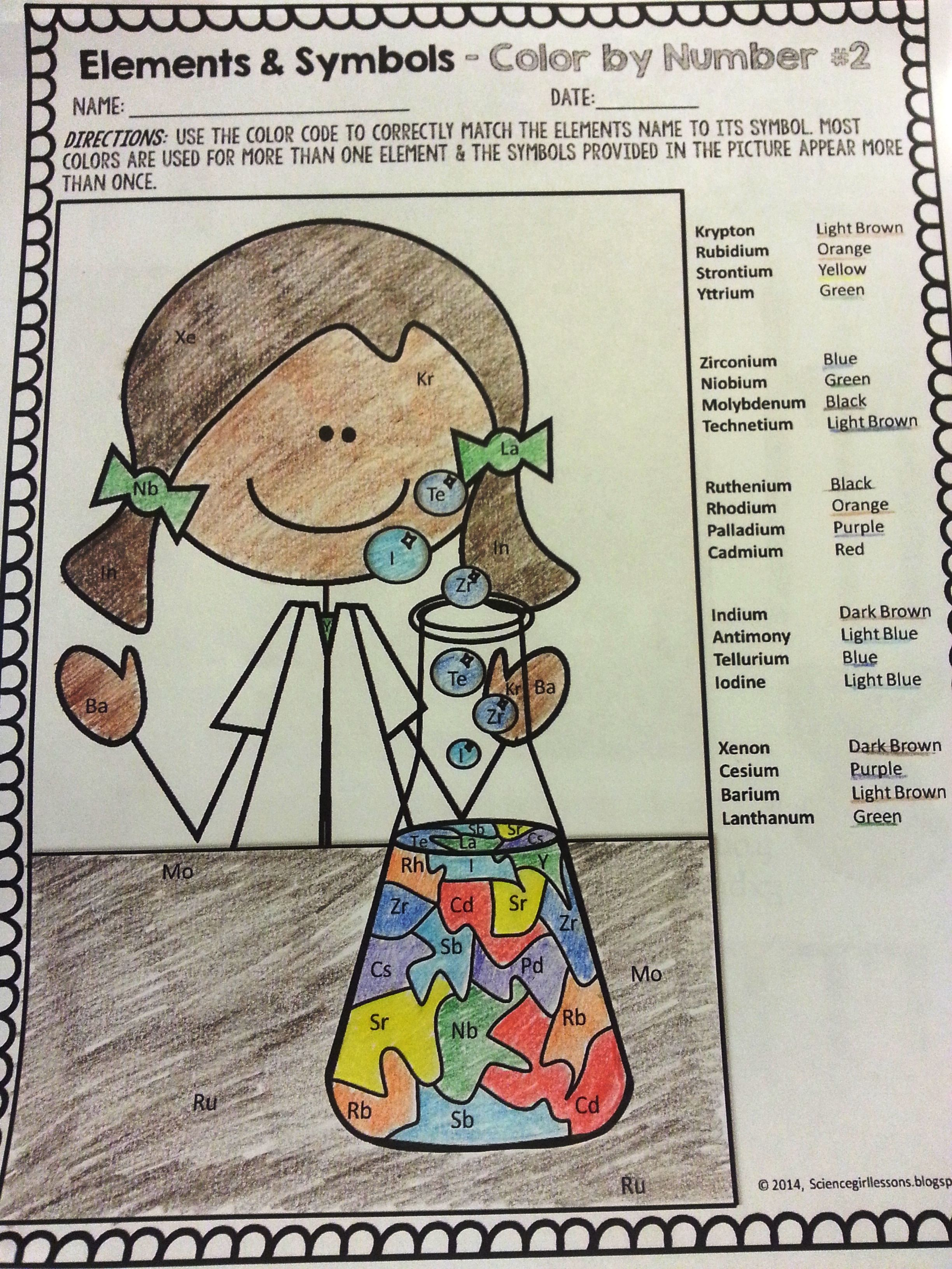 Chemical Elements Color By Symbols 2 Elementary Science Lab Activities Science Education