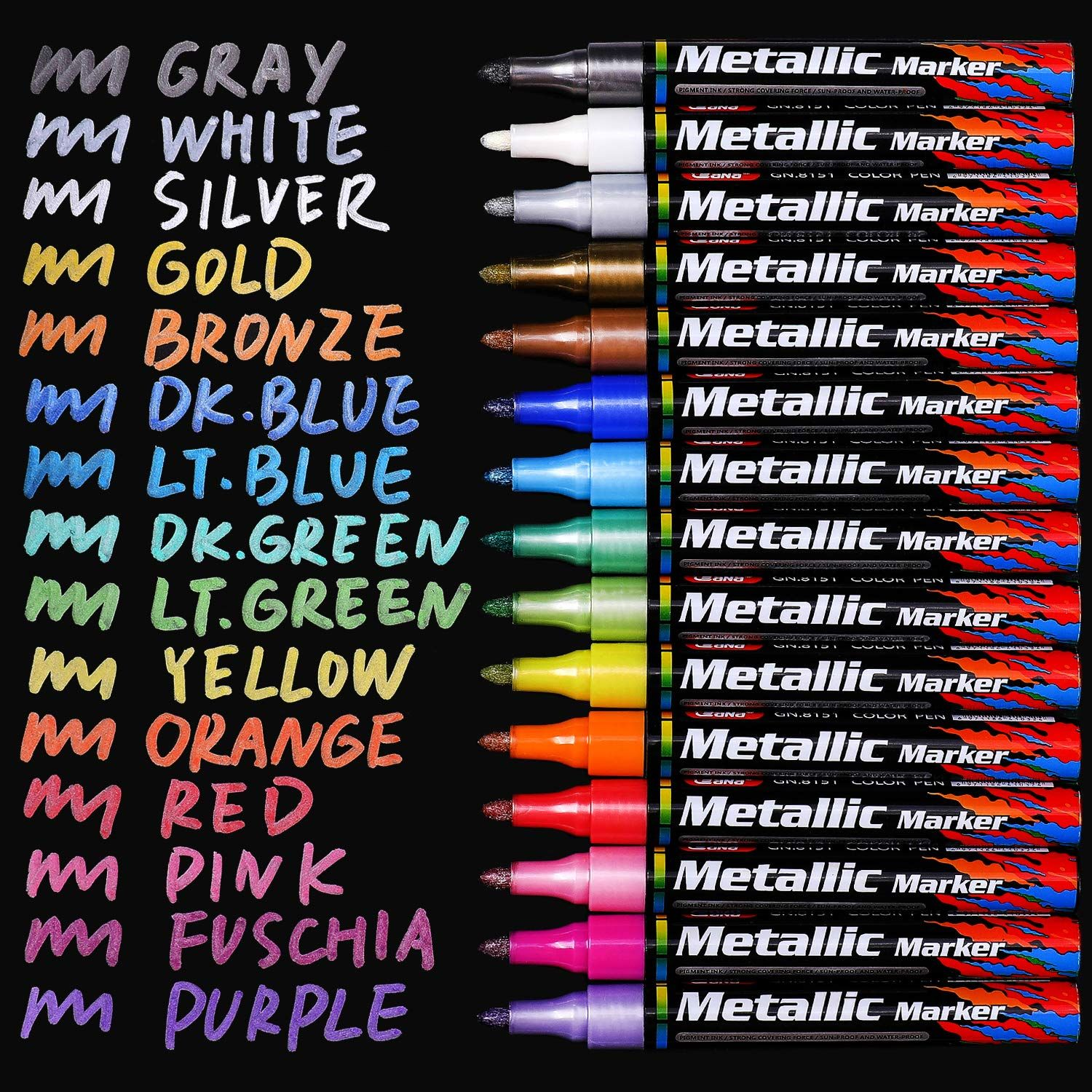 Metallic Markers Pens White Gold Paint Marker Pen For Kids Adults Including 10 Colors Medium Tips 2 Mm Line W Paint Marker Pen Glitter Paint Pens Paint Marker