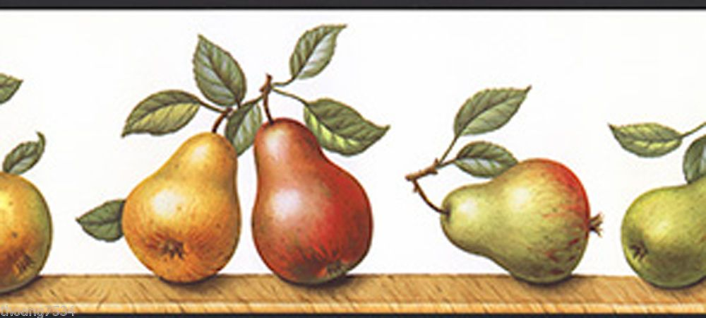 Country Tuscan Tuscany Golden Pears Pear Fruits Shelf Kitchen Wall paper Border