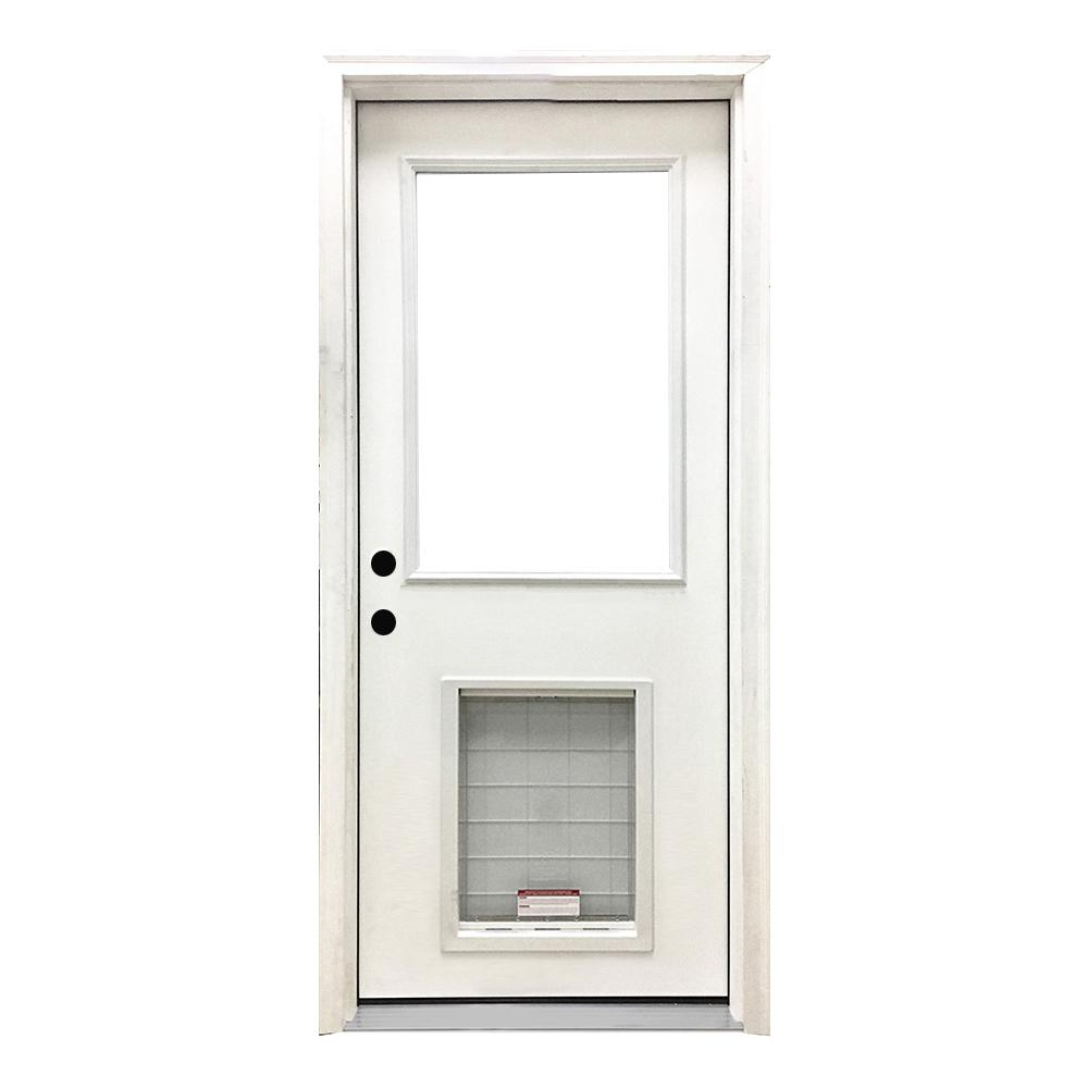 Steves Sons 30 In X 80 In Classic Half Lite Rhis White Primed Textured Fiberglass Prehung Front Door With Sl Pet Door Pet Door Mini Blinds Exterior Doors