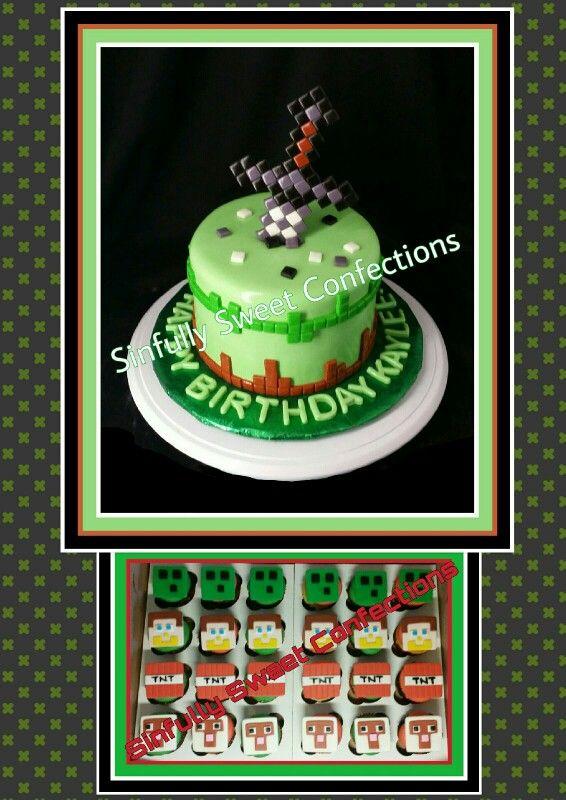 Minecraft Theme Birthday Cake With Cupcakes Sweet Desserts