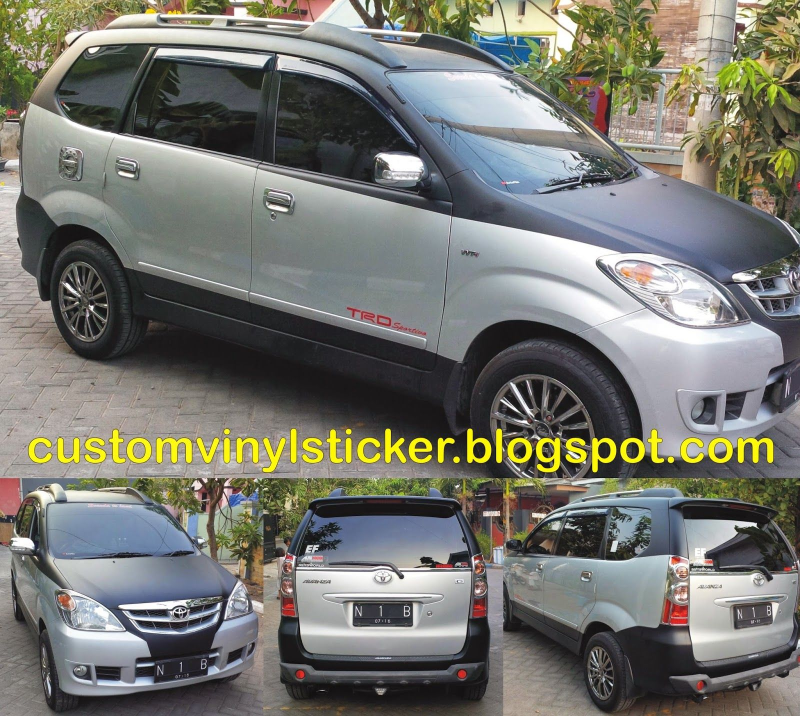 Toyota avanza silver black mate wrapping striping
