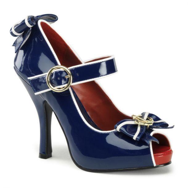 Mary Jane Damen Pumps Lack Schuhe Blau Weiß zum Retro Pin Up Kostüm für Damen