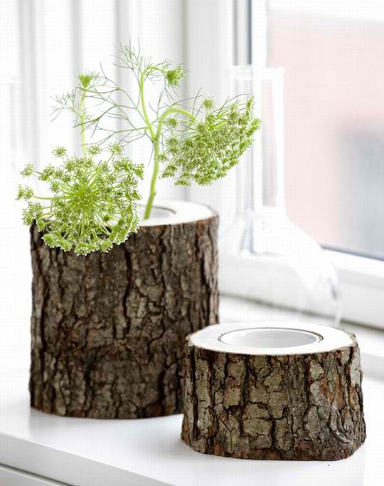 A perfect gift for nature lovers! These absolutely cool rustic wooden vases and bowls are carved in an alder or birch tree stem ... with the bark left on the wood. Each has a removable porcelain cup inside. These stem vases and bowls would fit equally well in your rustic log home or your eclectic modern interior. Either place, theyll bring charm and connections with nature. Visit Ferm Living to purchase.