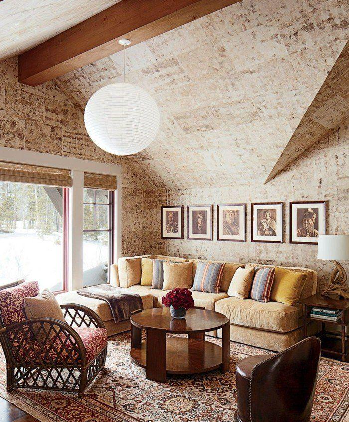 Ideen Für Wandgestaltung Rustikales Wanddesign Wohnzimmer Holzbalken