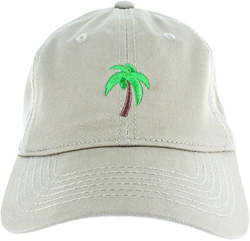826c84e96 Dad Hat Cap - Palm Tree Emoji Embroidered Adjustable Khaki Baseball ...