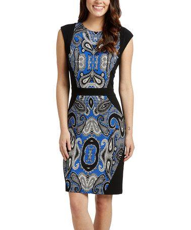 Another great find on #zulily! Black & Royal Blue Paisley Sheath Dress #zulilyfinds