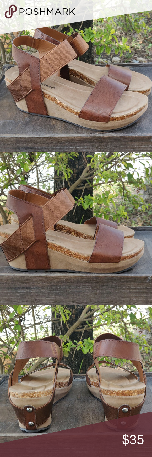 Womens Low Wedge Sandals Heels Whiskey 2 1/2  inch Wedge  Comfort Cushioned Footbed Elastic goring for a secure fit 223467906111 Pierre Dumas Shoes Sandals #lowwedgesandals