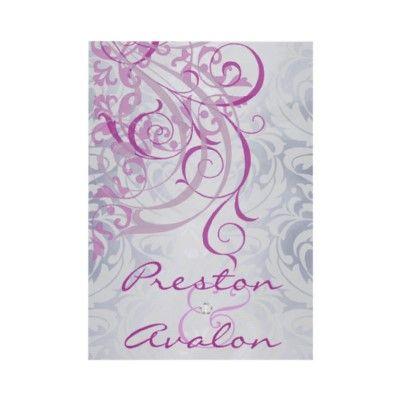 Vintage Rococo Pink & Gray Damask Invitation