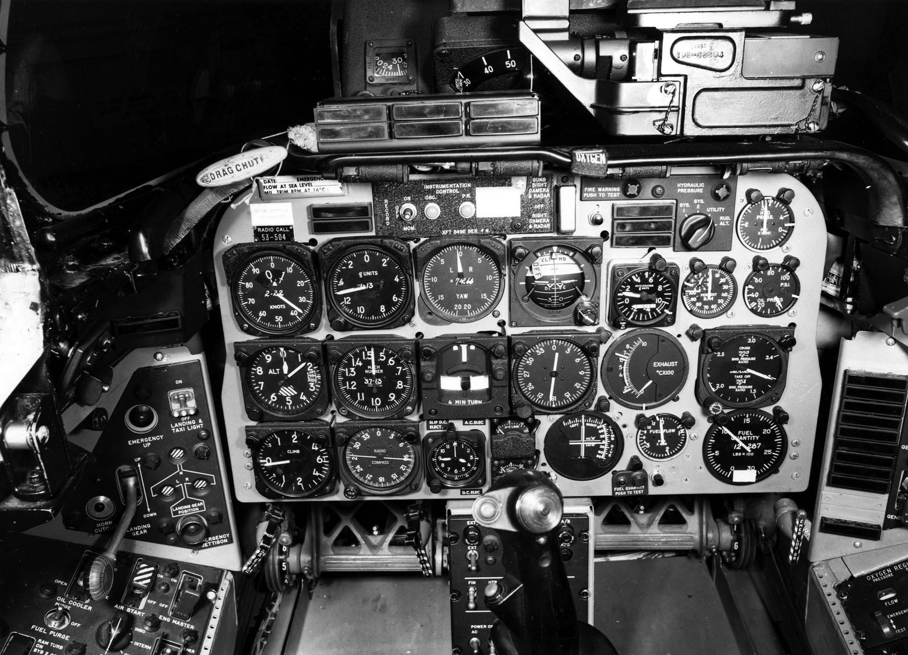 Instrument panel of a north american aviation f 100 super sabre u s air