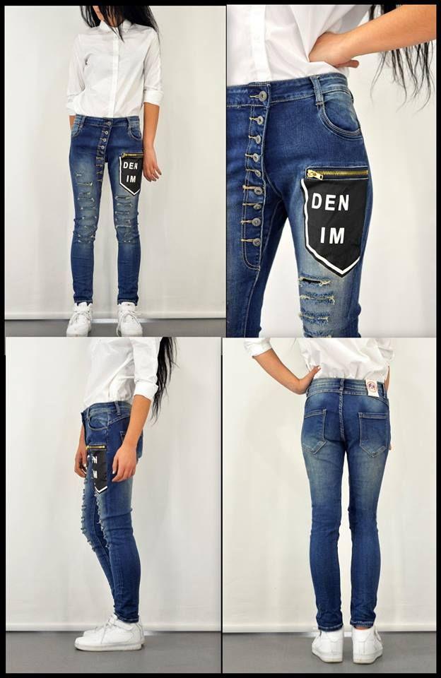357c4c4687e7 Γυναικείο παντελόνι denim με στάμπα και εξωτερικά κουμπιά για να  μετατρέψεις το look σου σε personal
