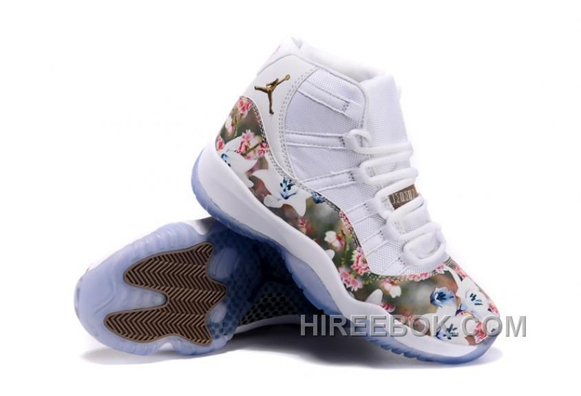 "brand new bfc39 37db9 2016 Girls Air Jordan 11 ""Floral Flower"" White Brown Shoes Super Deals KEy68"