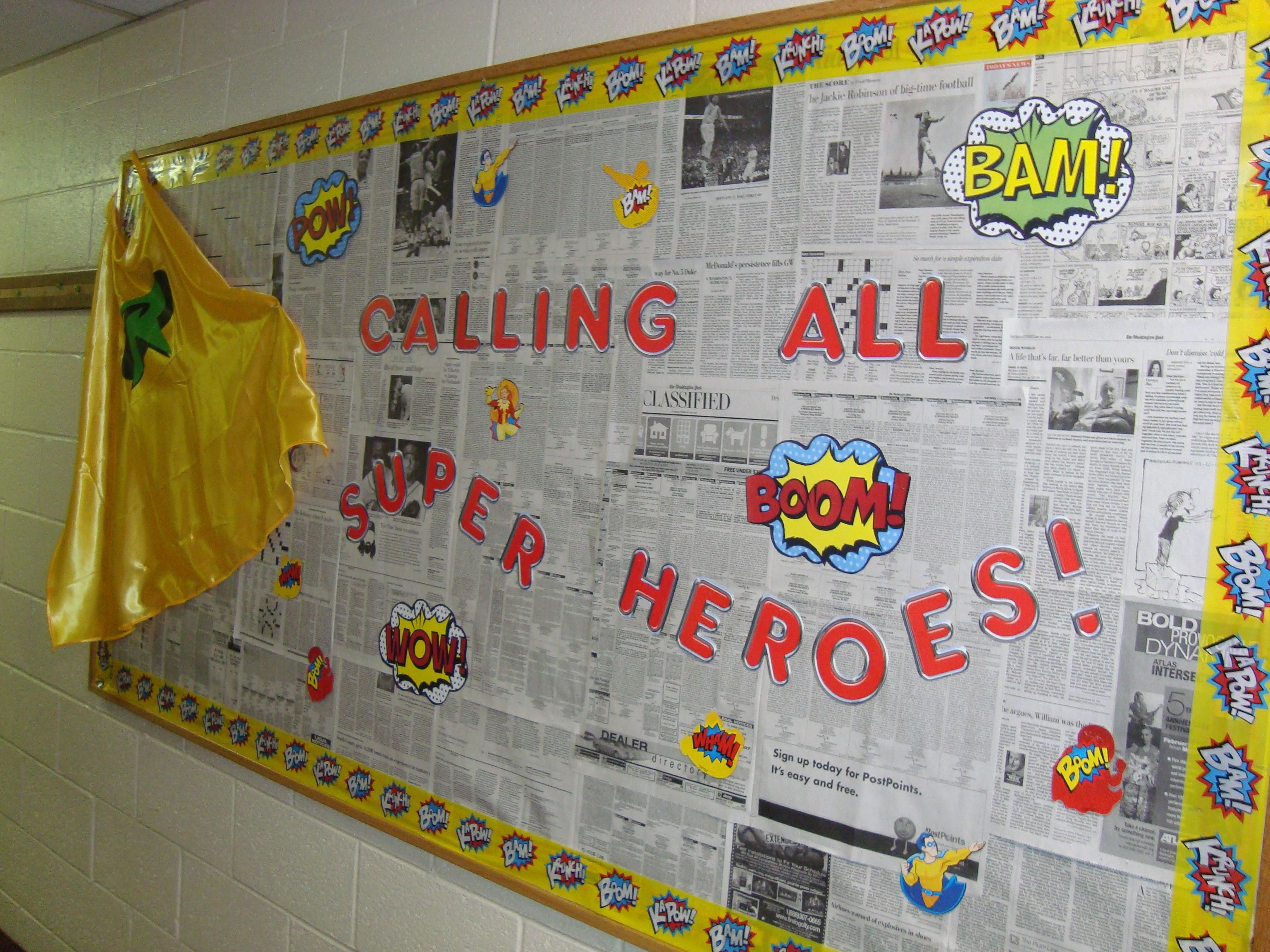 Classroom Newspaper Ideas : Superhero bulletin board newspaper check articles for