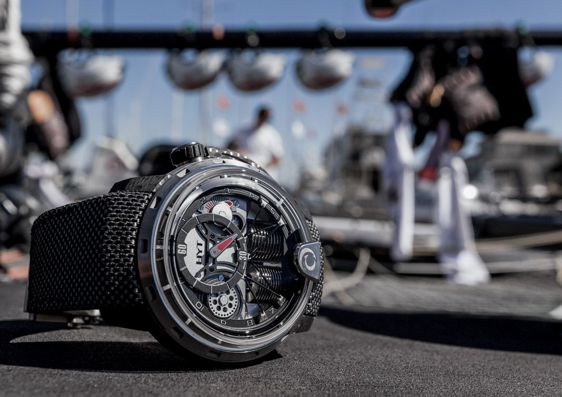 6823a8ca11b20 HYT released the HYT Alinghi H1 timepiece (limited to 20 pieces) earlier  this year. We were able to get some hands-on time with it during the  Extreme ...