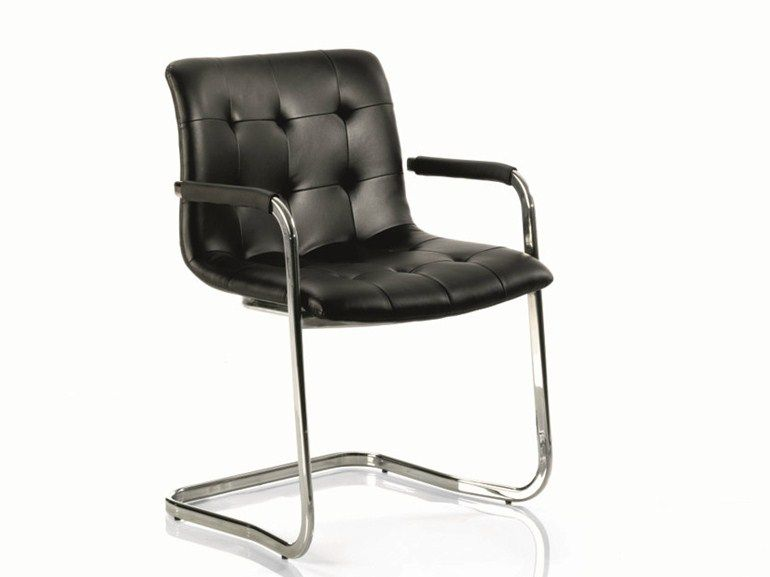 gepolsterter freischwinger aus leder kuga stuhl mit armlehnen kollektion st hle by bontempi. Black Bedroom Furniture Sets. Home Design Ideas