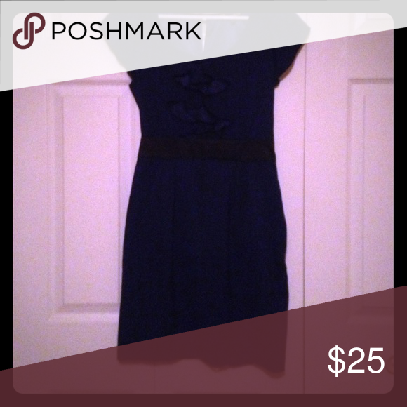 Business Dress Navy blue dress with ruffles on the front, a black waistband and pockets. Express Dresses