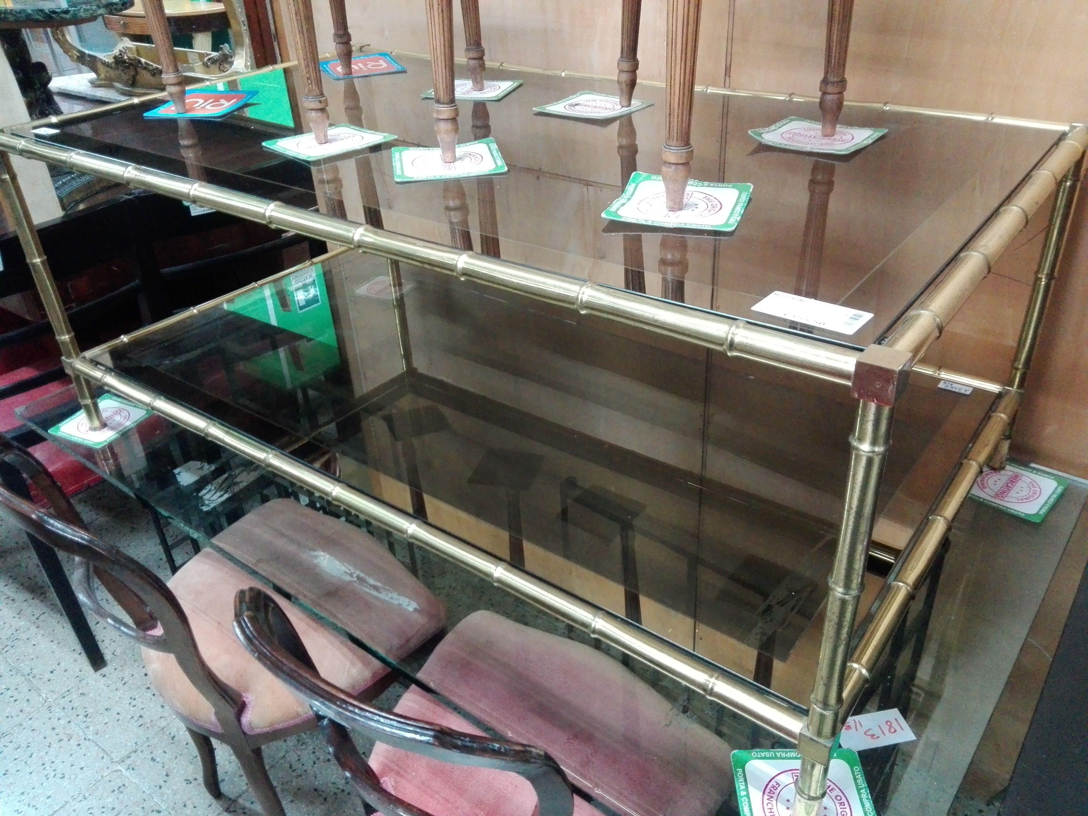 Tavolo In Vetro Usato.Tavolo Da Salotto Dorato Con 2 Ripiani In Vetro Fum A Specchio