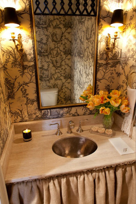 French Bathroom With Black And White Chinoiserie Toile Wallpaper - Hammered metal bathroom sinks for bathroom decor ideas