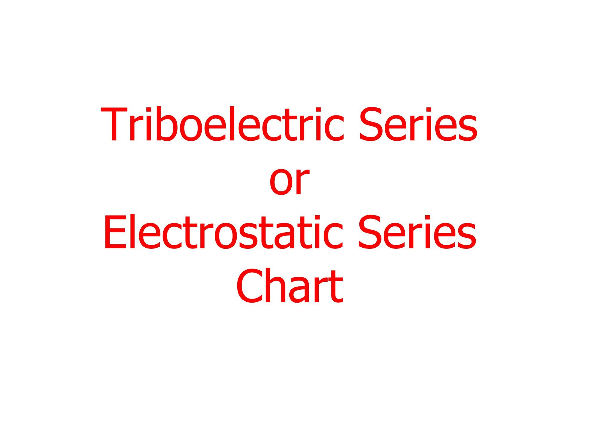 Triboelectric Or Electrostatic Series Chart Chart Series Physics [ 1498 x 2008 Pixel ]