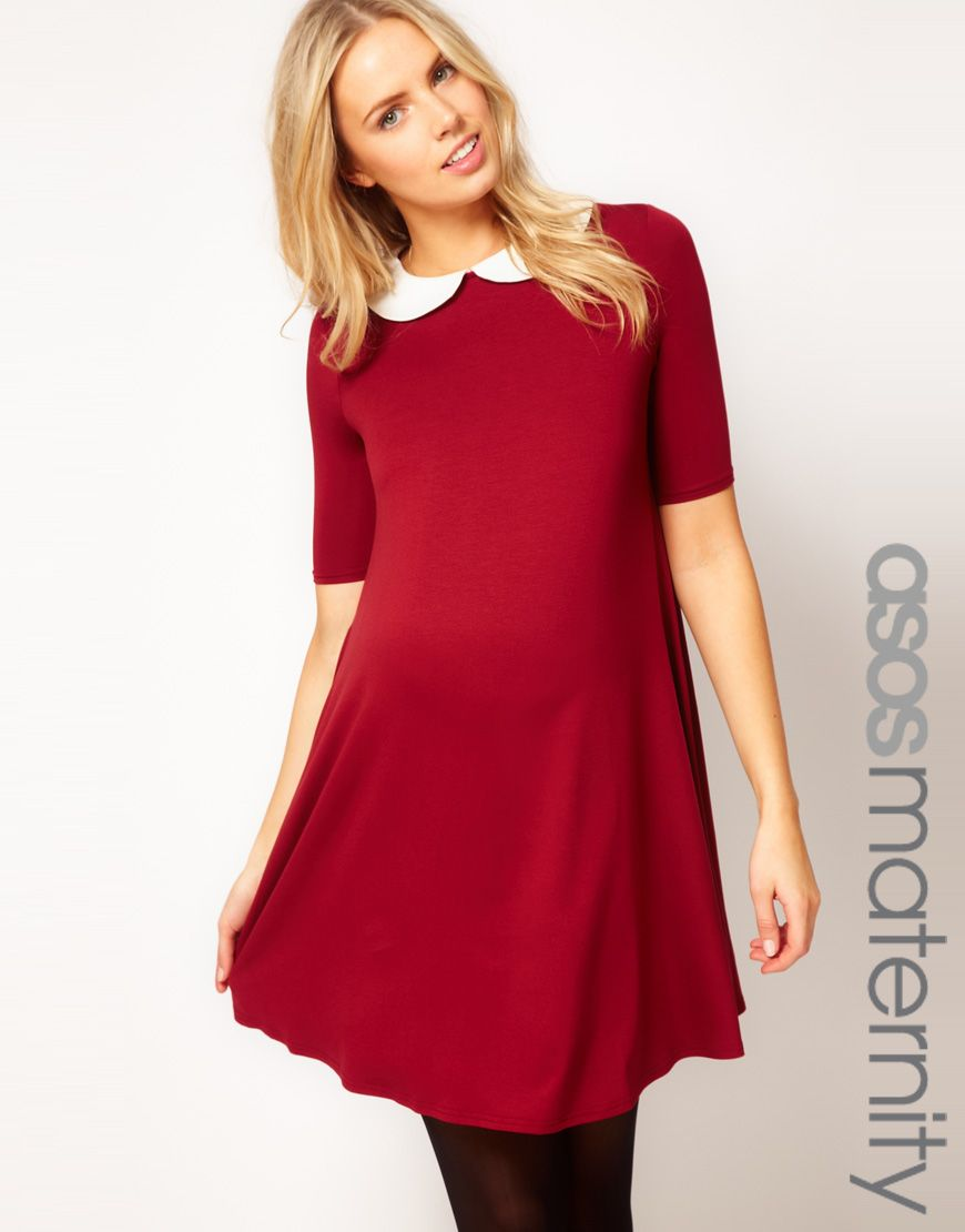 Cute red maternity dress on sale asos maternity swing dress with cute red maternity dress on sale asos maternity swing dress with peter pan collar ombrellifo Image collections