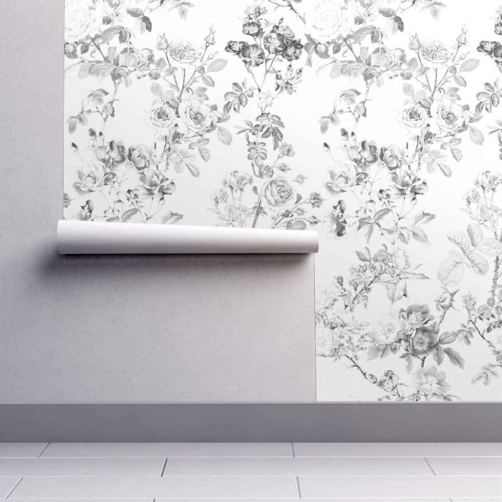 Wallpaper English Rose Watercolor Black and White in