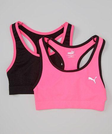 Love this Pink & Black Sports Bra Set - Girls on #zulily! #zulilyfinds