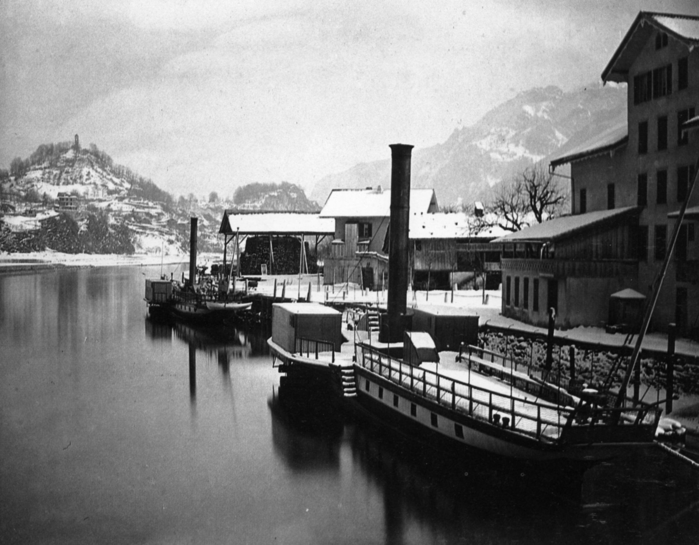 1860 1870 Adolphe Braun Vapeurs Sur Le Lac  Mouillage D Hiver  Suisse éPreuve Au Charbon