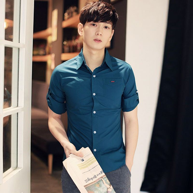 Find More Casual Shirts Information about Camisas Hombre Vestir Real Camisas Mens Slim Fit Casual Solid Color 2016 Men's Fashion Brand Blouse Camisa Masculina Sleeve Men ,High Quality shirt spike,China shirt dry Suppliers, Cheap shirt cartoon from My fashion clothes on Aliexpress.com