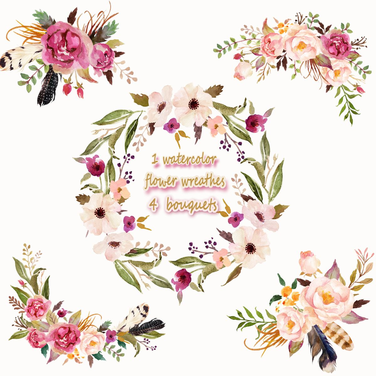 3.5USD 1 Watercolor flower wreathes & 4 flower bouquet, Floral Frame PNG, wedding bouquet ...