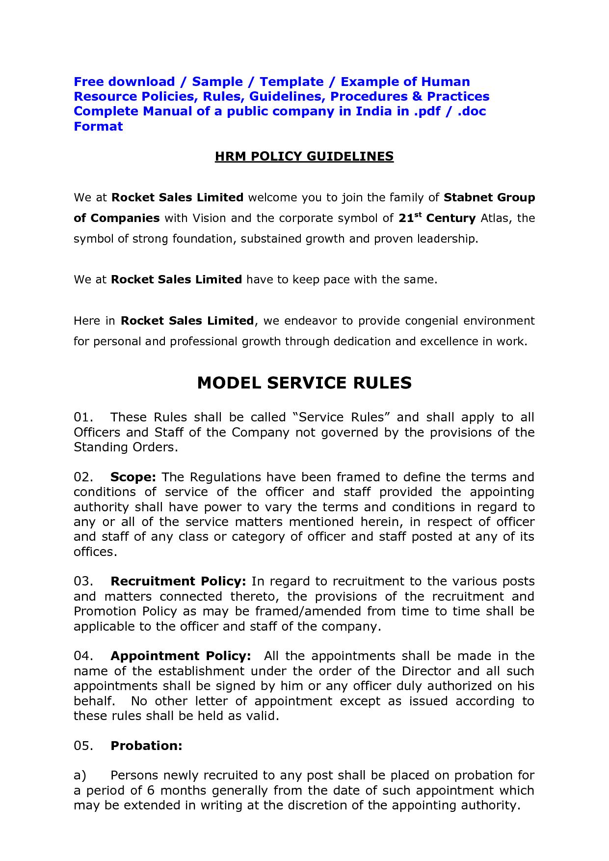 Hr Policies Template. artbridges. amazing sample policy manual ...