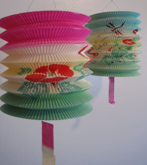 vintage 50s japanese paper lanterns accordion style parasols