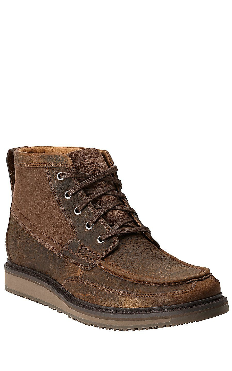 Ariat Rugged West Men's Lookout Earth Brown & Stone Suede Driving ...