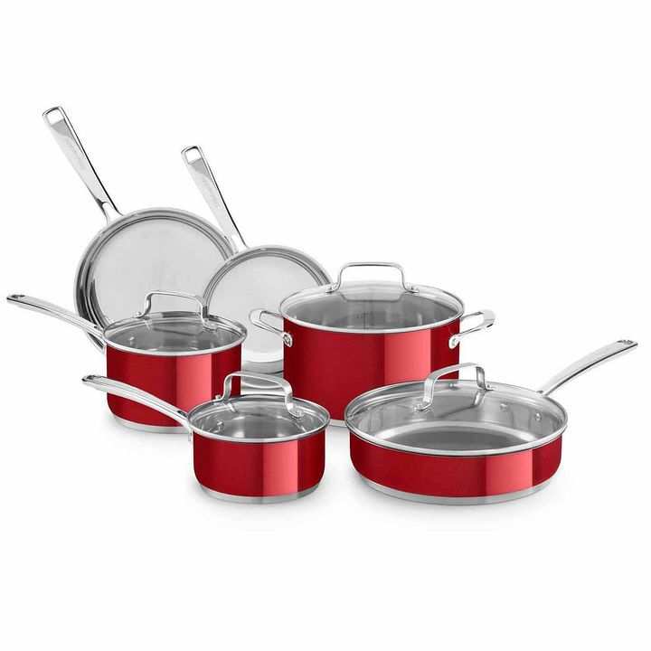Kitchen aid 10pc stainless steel cookware set cookware