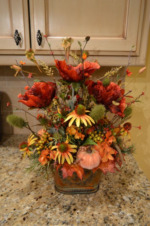 Pumpkin and Poppy Arrangement by kristenscreations on Etsy