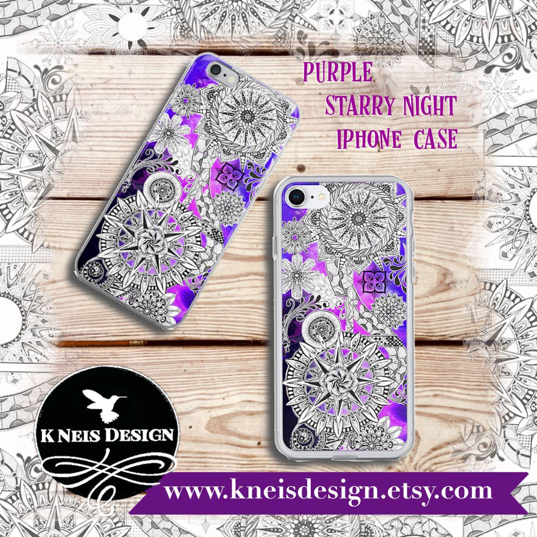 Purple, Starry Night, IPhone Case, Digital Art, Abstract