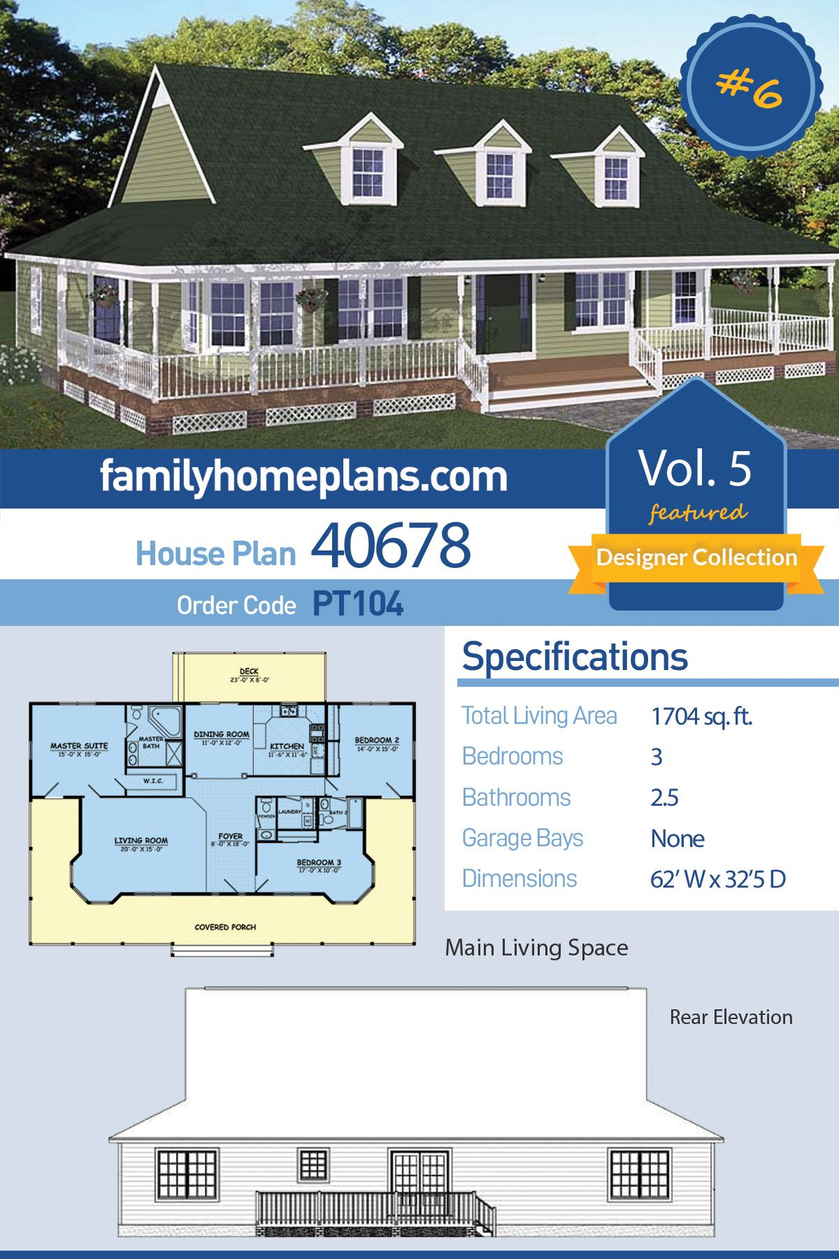 Southern Style House Plan 40678 With 3 Bed 3 Bath One Level House Plans Farmhouse Plans House Plans Farmhouse