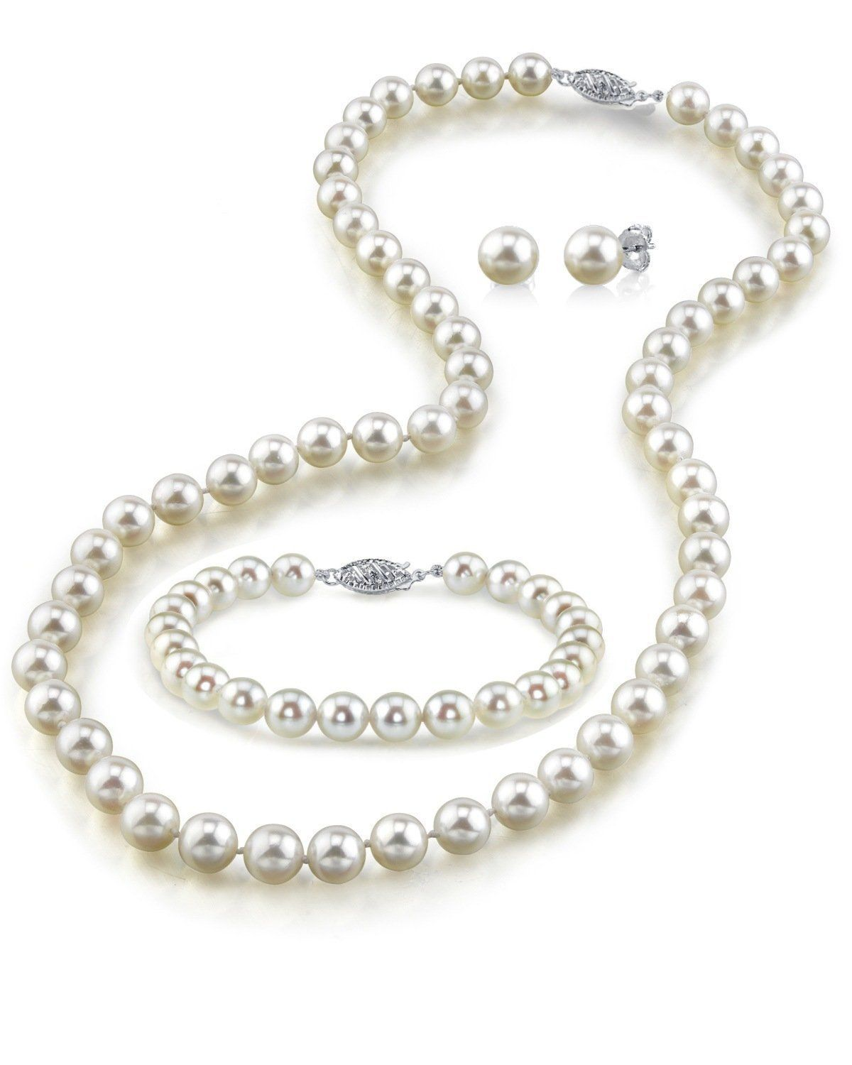 14k Gold 78mm White Freshwater Cultured Pearl Necklace, Bracelet And  Earrings Set,