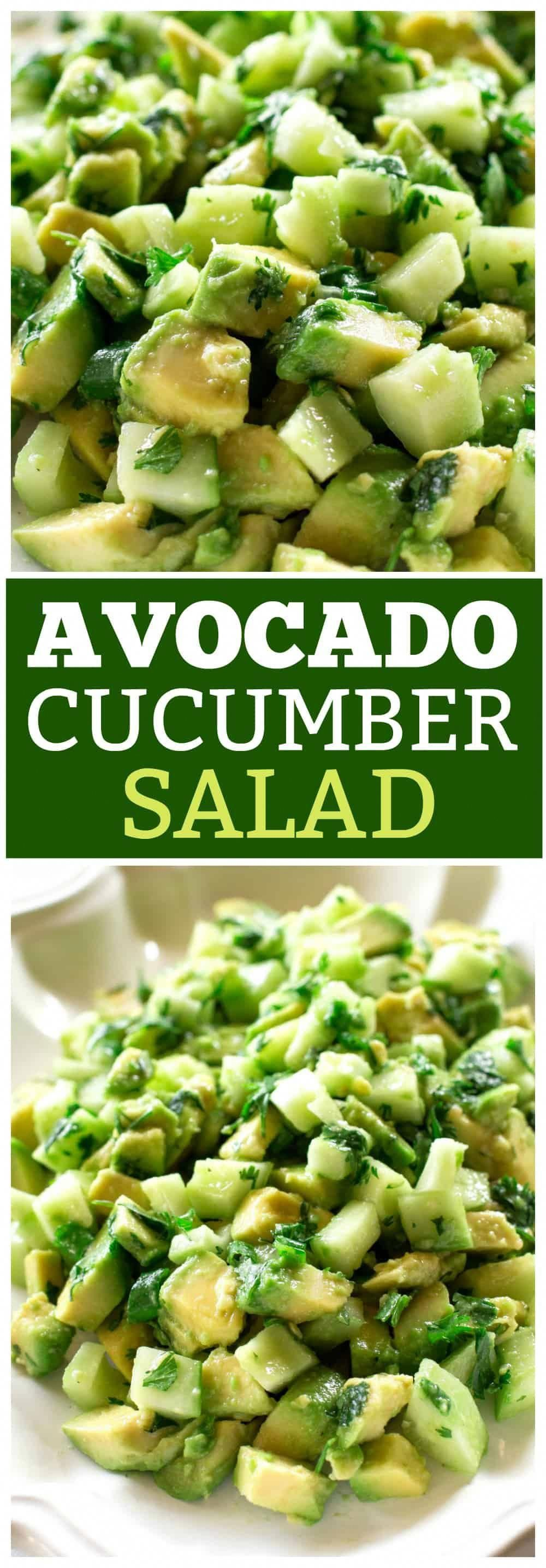 This Avocado Cucumber salad has a citrus dressing with cilantro and garlic. A great side dish to an