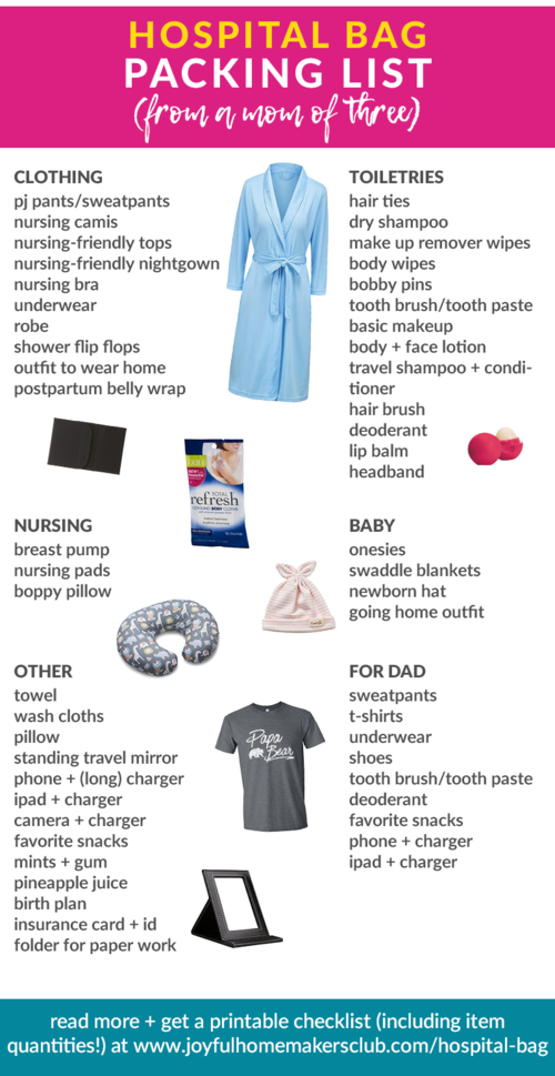 bc282853acc6c A great #checklist of items for your #hospital #bag, put together by a 3x  mama! Click through for #printable versions!