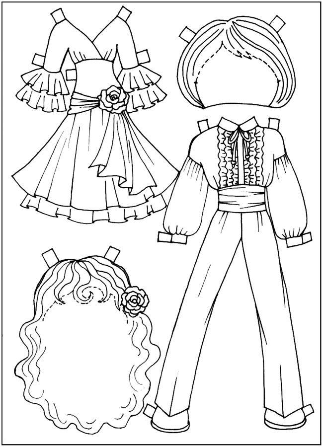 картинки для раскрашивания, Куклы-вырезалки, испанские ...