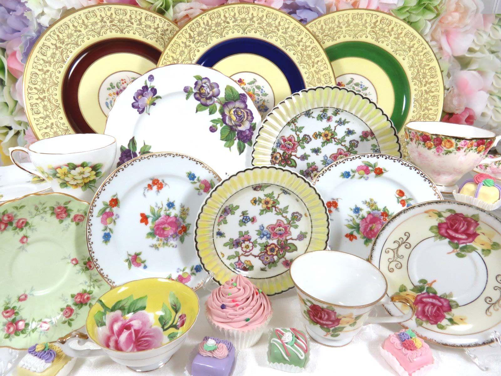 Fancy 20 Piece Mismatched Vintage Fine China Dinnerware Set