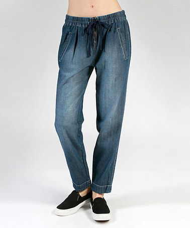Another great find on #zulily! Dark Blue Distressed Denim Drawstring-Waist Straight-Leg Pants #zulilyfinds