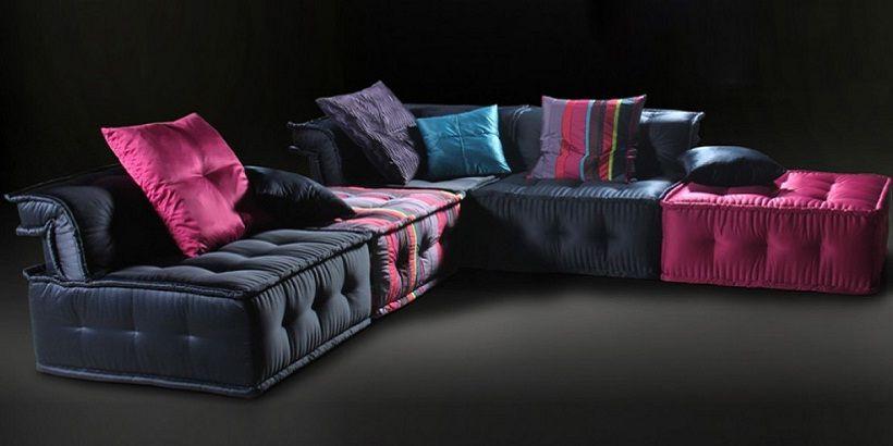 Multi Coloured Fabric Corner Sofa