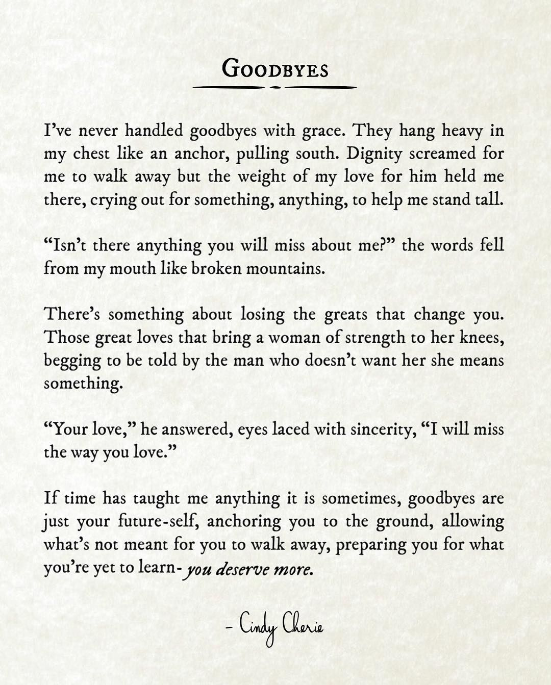 Goodbyes #cindycherie | Cindy Cherie | Poetry quotes, Love poems