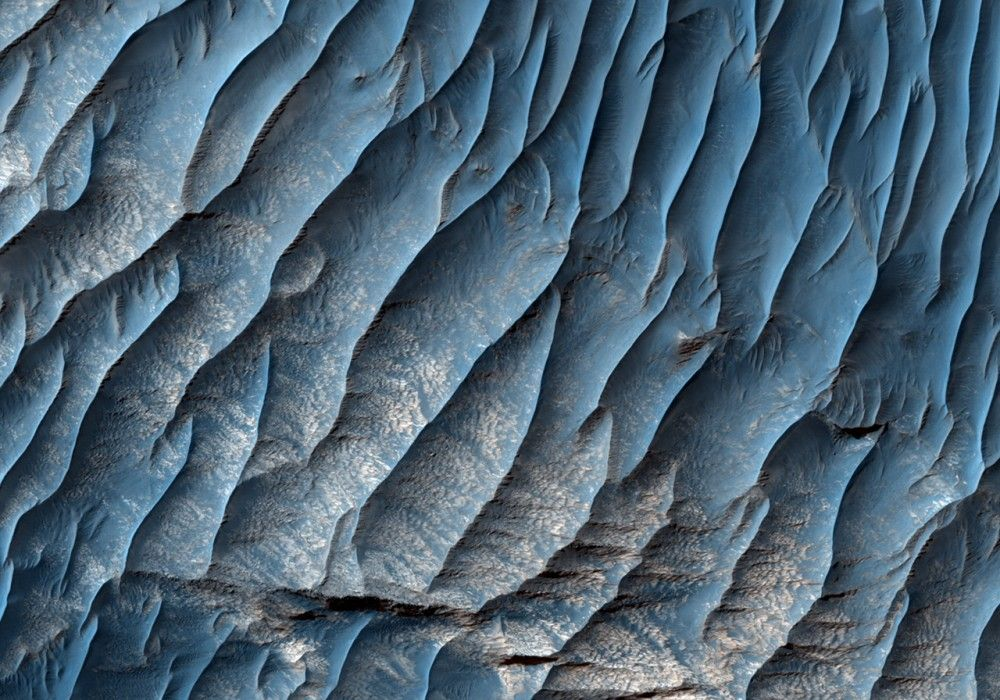 Eroded Sediments in West Candor Chasma This image shows a steep-sided depression in light-toned, layered rocks in the Valles Marineris canyon system. This formation, known as Ceti Mensa, is located in western Candor Chasma in the northern Valles. #Mars