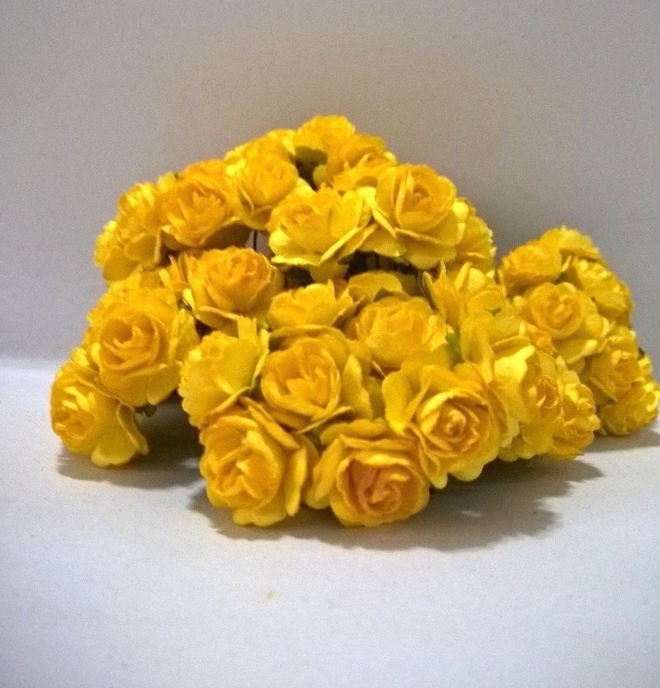 100 Yellow Roses Flowers Mulberry Paper Dyi Crafts Scrapbooking