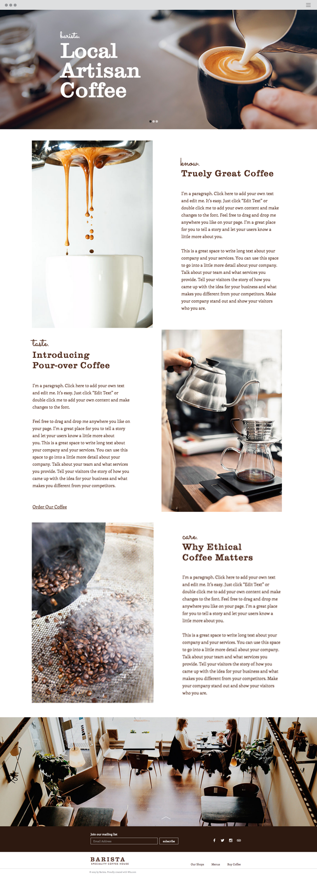 Coffee House Website Template Coffee Websites Cafe