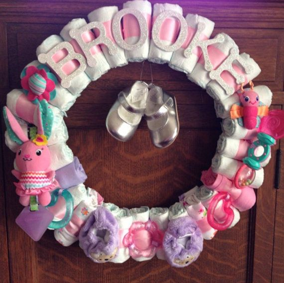 Baby Girl Diaper Wreath Baby Shower Decor Custom Theme Custom Name