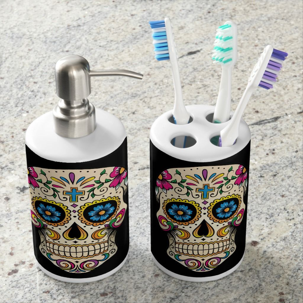 Day Of The Dead Sugar Skull With Cross Bathroom Set Sugar Skull Decor Sugar Skull Skull Bedroom